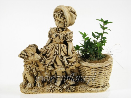 kompozycja kwiatowa dziewczynka z pieskiem - od producenta