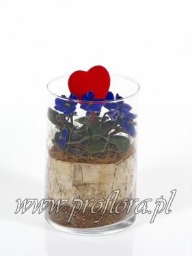 dekoracja kwiatowa cylinder średni Walentynkowy - produkcja Proflora